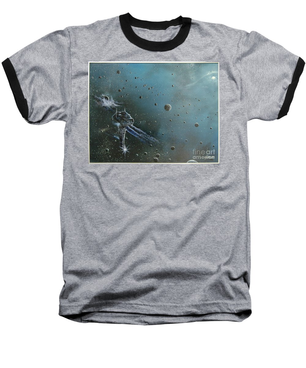 Astro Baseball T-Shirt featuring the painting Hiding In The Field by Murphy Elliott