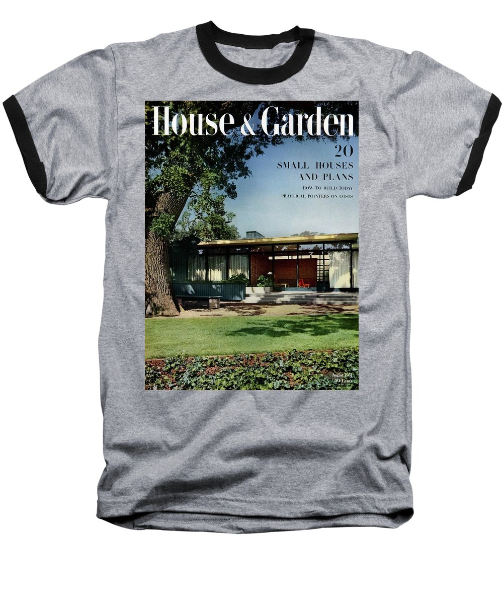 House & Garden Baseball T-Shirt featuring the photograph House & Garden Cover Of The Kurt Appert House by Ernest Braun