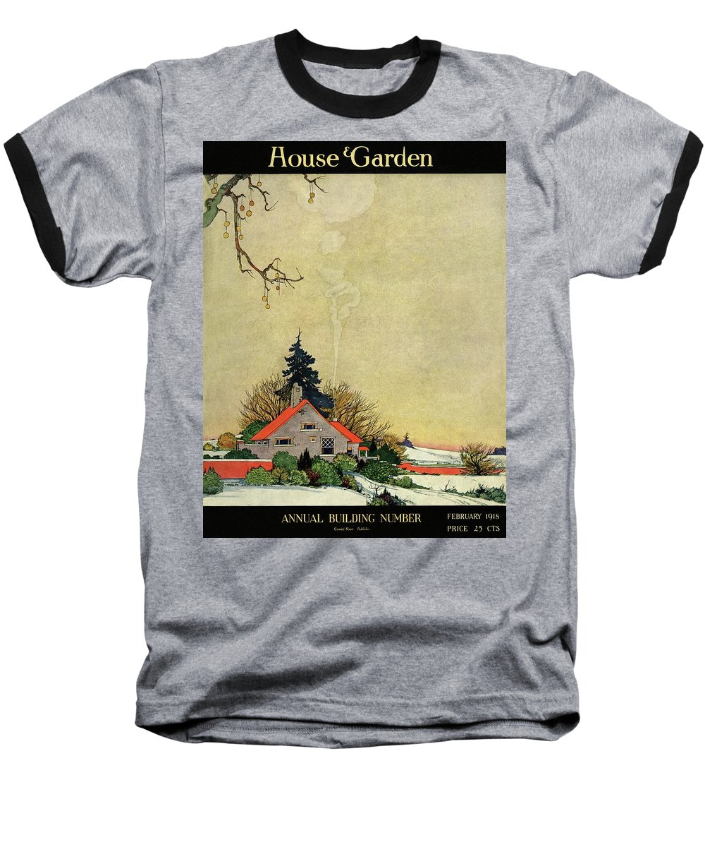 House And Garden Baseball T-Shirt featuring the photograph House And Garden Annual Building Number Cover by Charles Livingston Bull