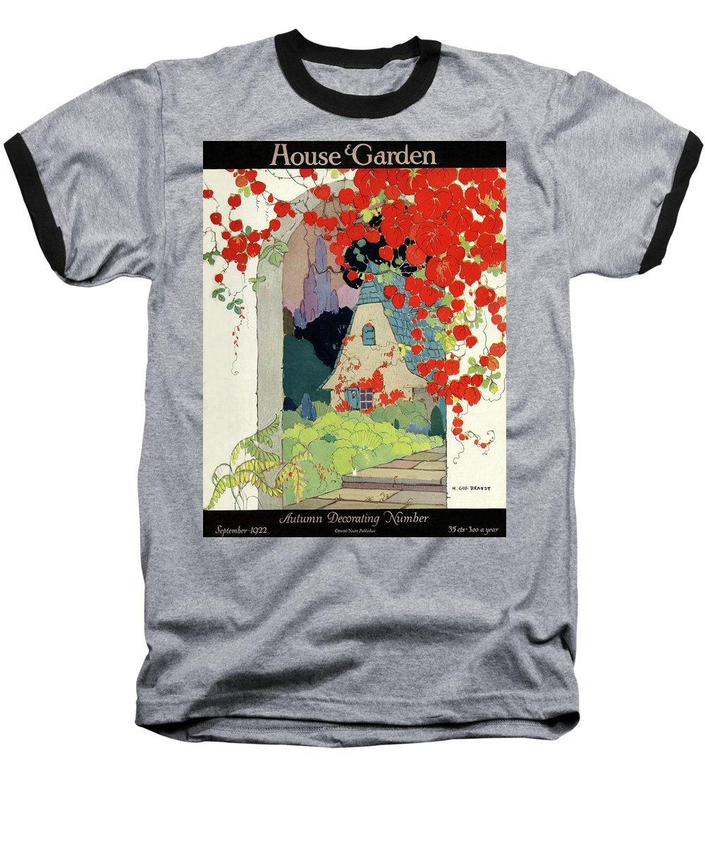House And Garden Baseball T-Shirt featuring the photograph House And Garden Autumn Decorating Number by H. George Brandt