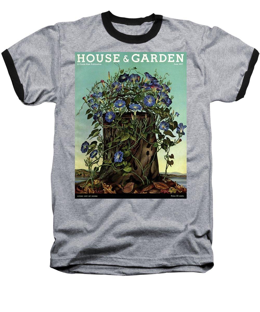 House And Garden Baseball T-Shirt featuring the photograph House And Garden Cover Featuring Flowers Growing by Audrey Buller