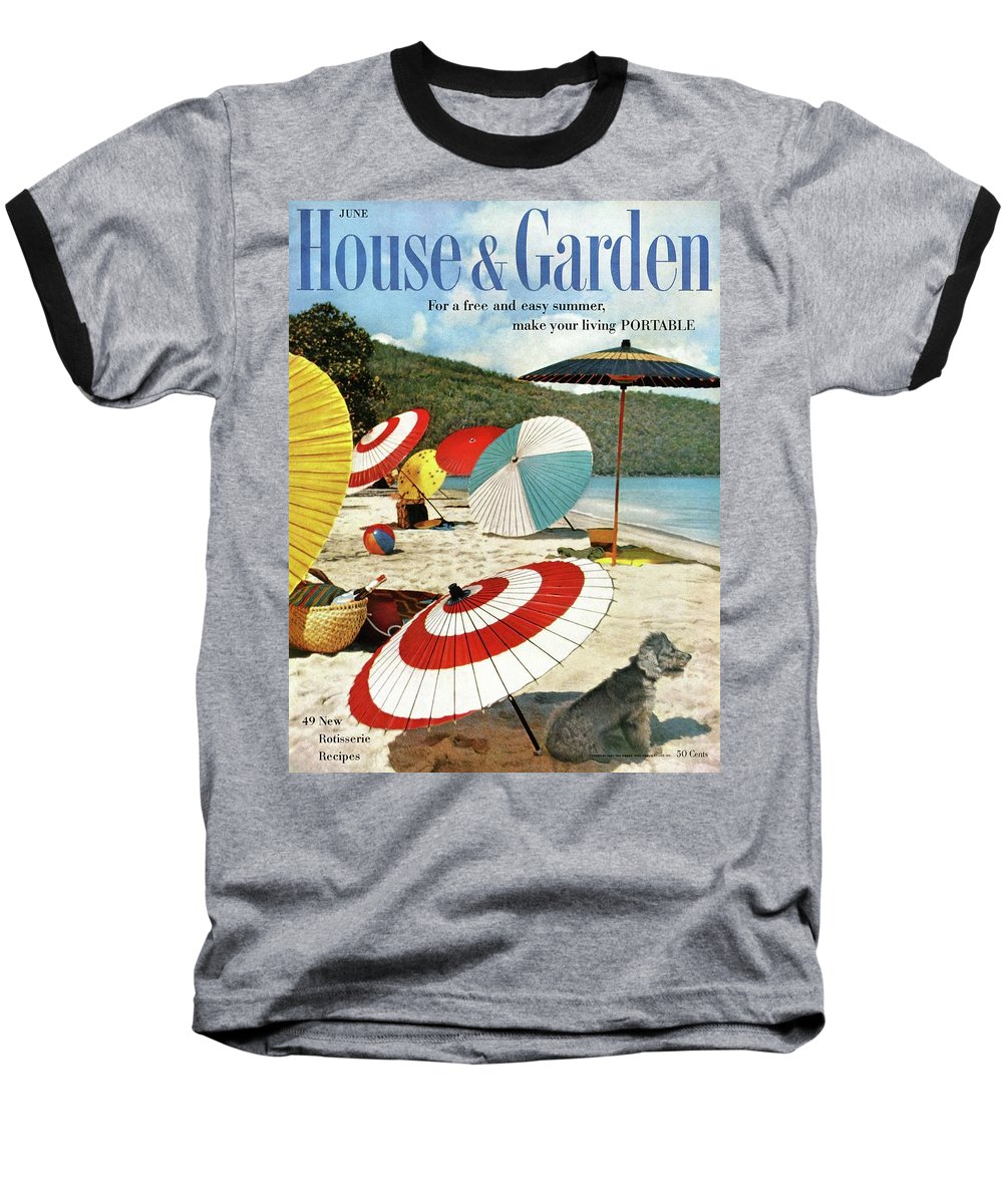 Exterior Baseball T-Shirt featuring the photograph House And Garden Featuring Umbrellas On A Beach by Otto Maya & Jess Brown