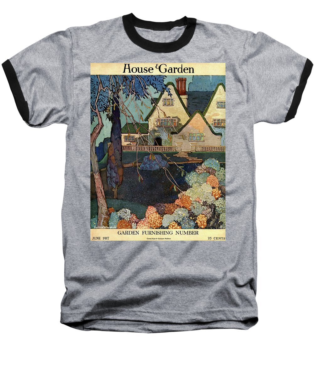 Illustration Baseball T-Shirt featuring the photograph House And Garden Garden Furnishing Number Cover by Porter Woodruff