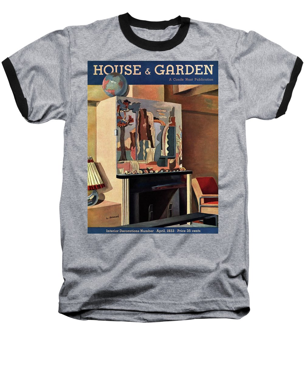 House And Garden Baseball T-Shirt featuring the photograph House And Garden Interior Decoration Number Cover by Louis Bouche