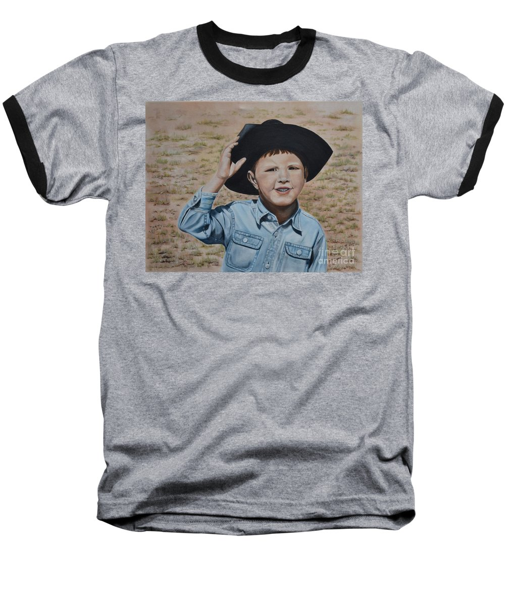 Usa Baseball T-Shirt featuring the painting Howdy Ma'am by Mary Rogers