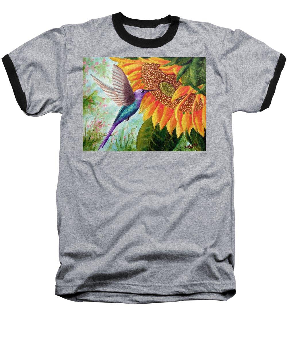 Hummingbird Baseball T-Shirt featuring the painting Humming For Nectar by David G Paul