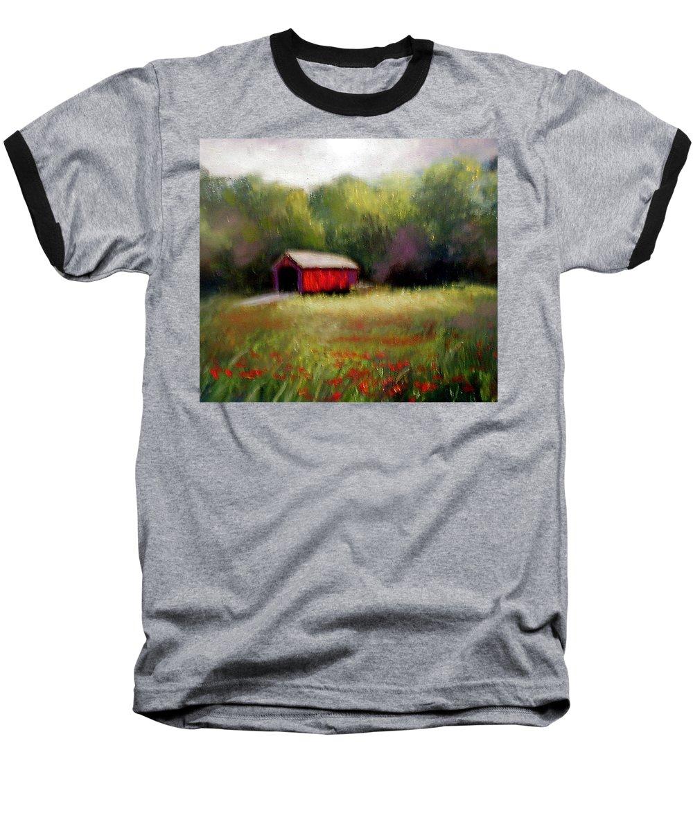 Covered Bridge Baseball T-Shirt featuring the painting Hune Bridge by Gail Kirtz
