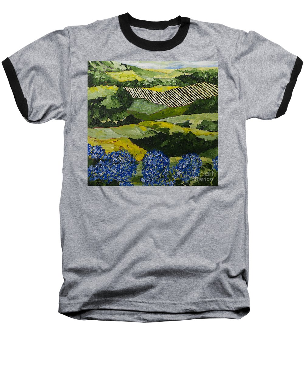 Landscape Baseball T-Shirt featuring the painting Hydrangea Valley by Allan P Friedlander