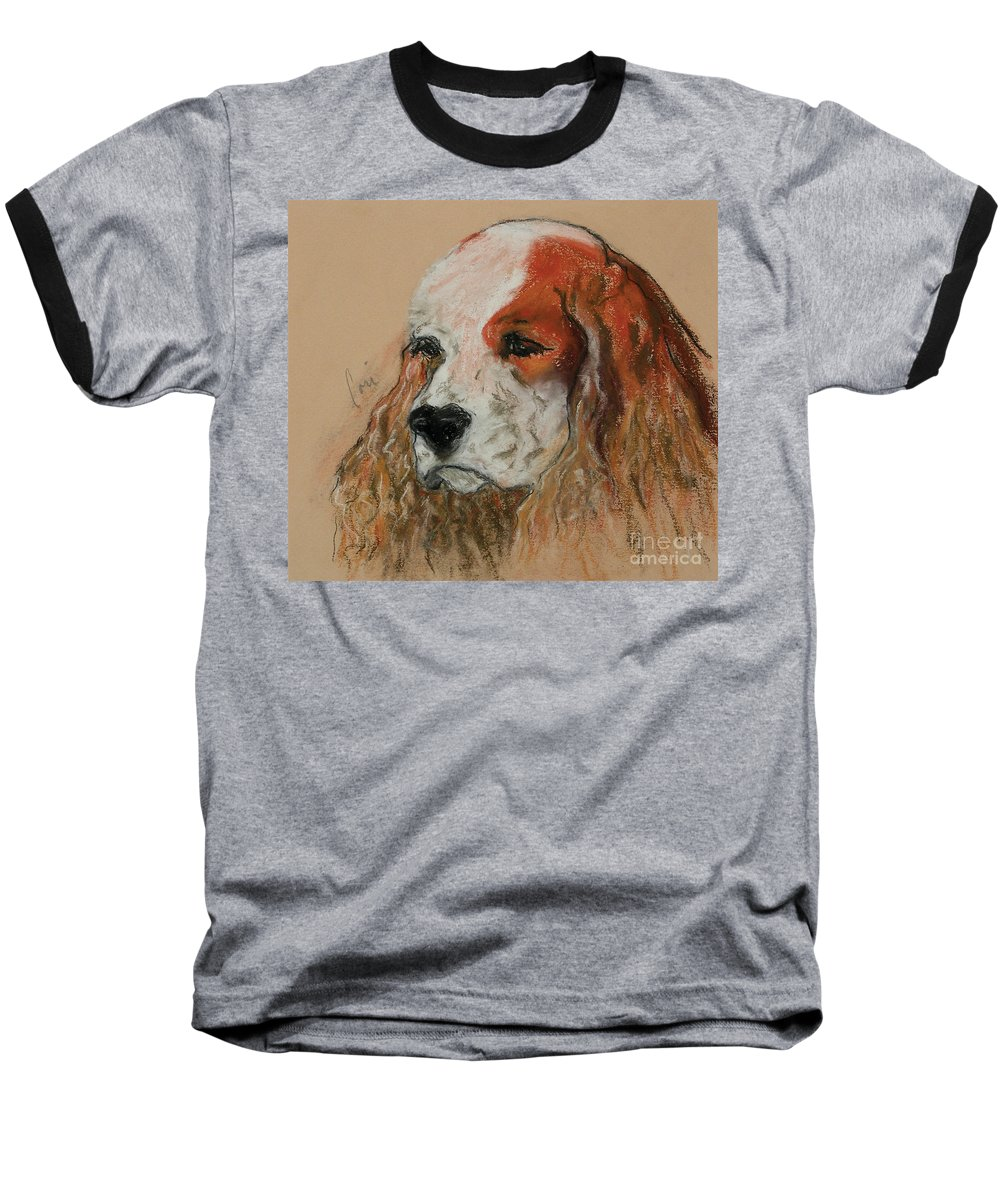 Dog Baseball T-Shirt featuring the pastel Idle Thoughts by Cori Solomon