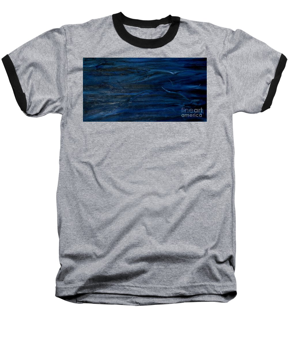 Modern Art Baseball T-Shirt featuring the painting Immense Blue by Silvana Abel