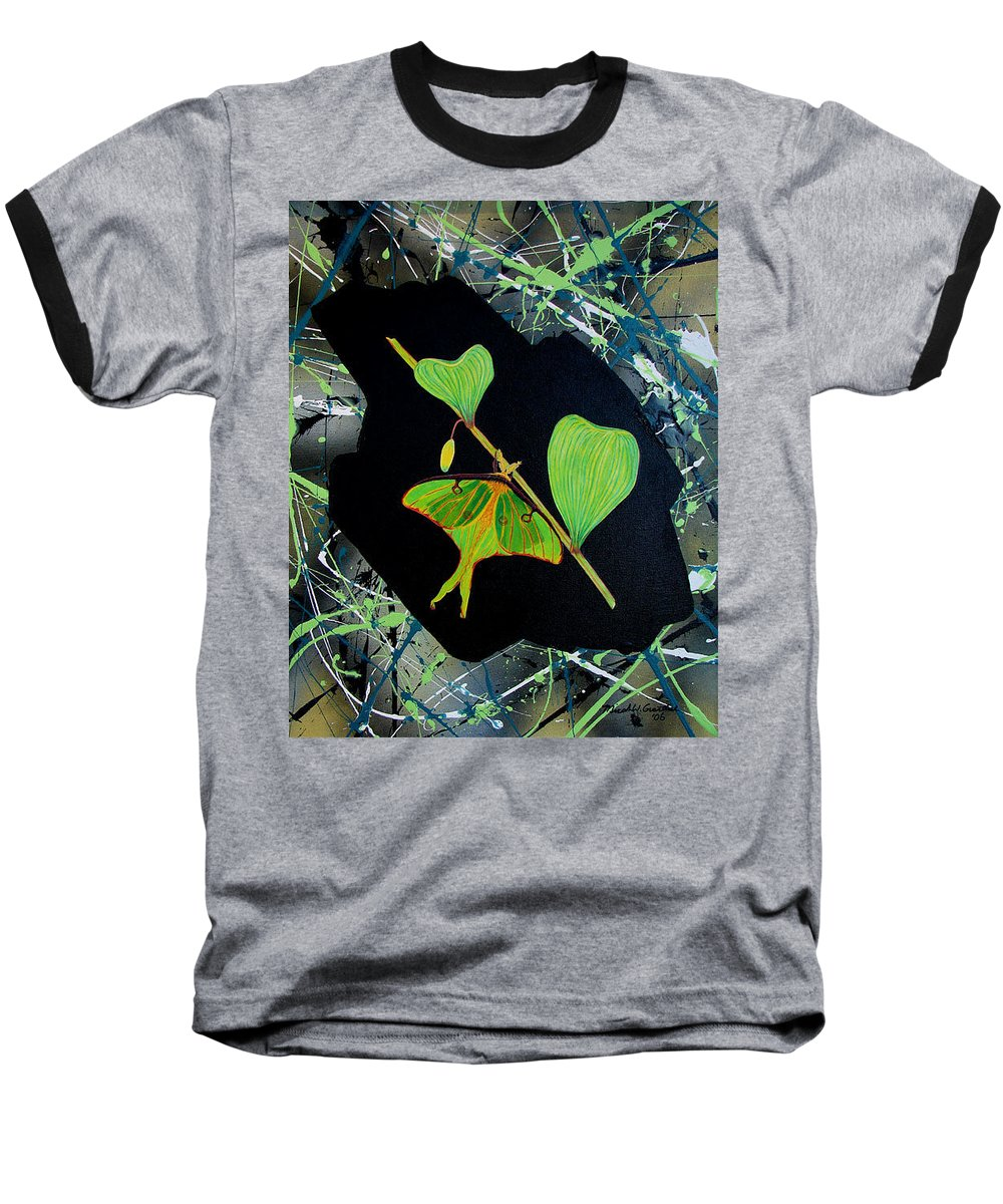 Abstract Baseball T-Shirt featuring the painting Imperfect IIi by Micah Guenther