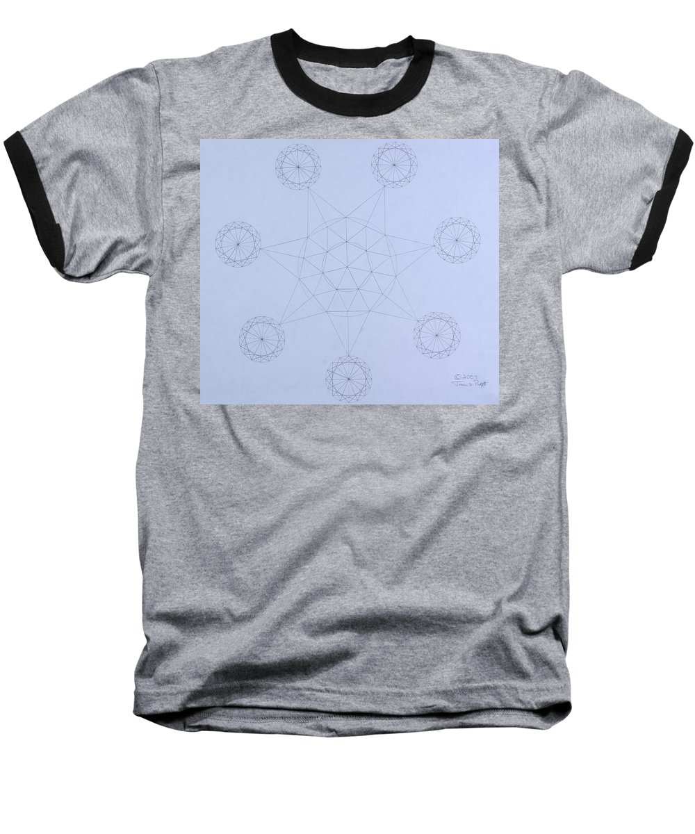 Jason Padgett Baseball T-Shirt featuring the drawing Impossible Parallels by Jason Padgett