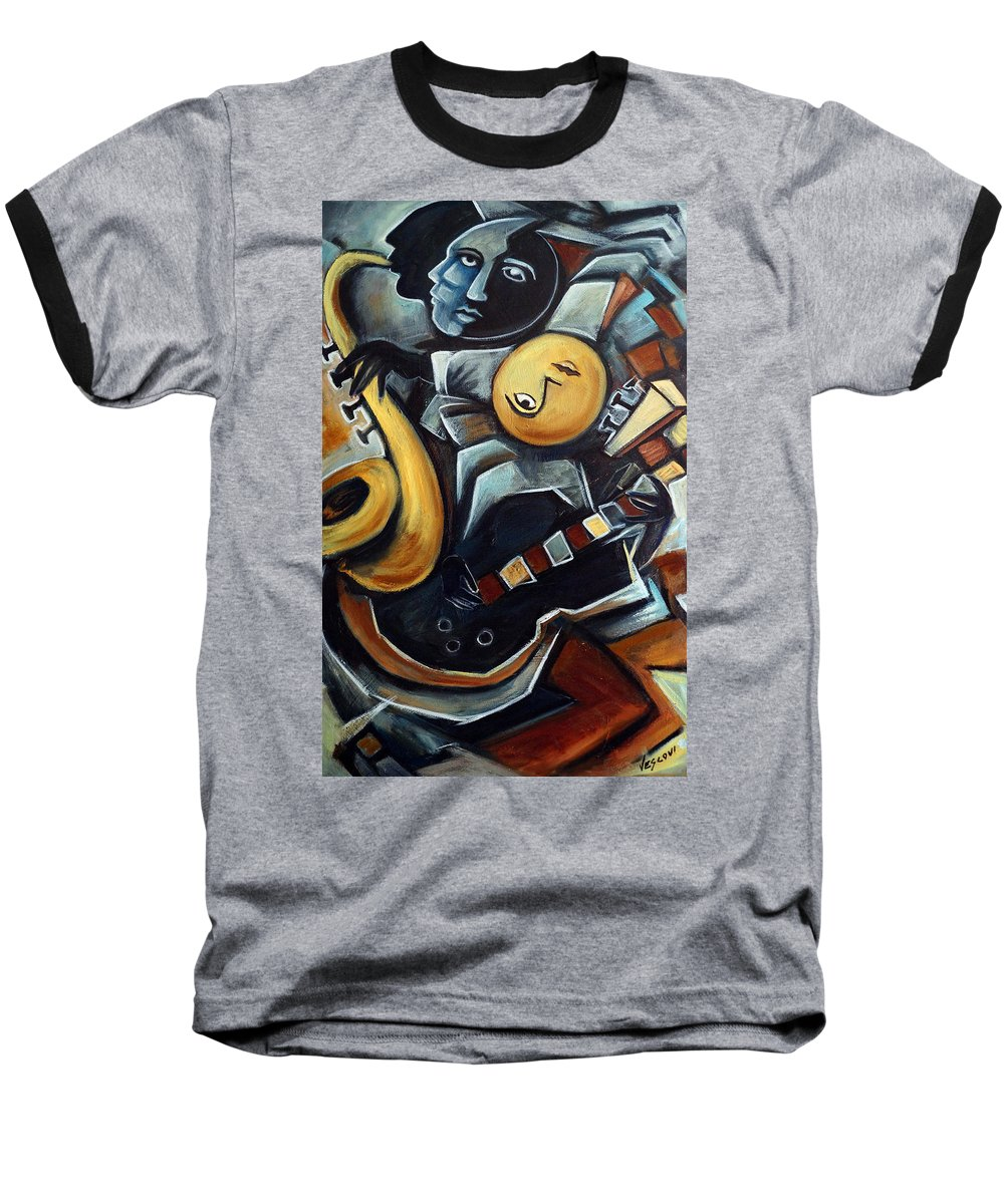 Cubism Baseball T-Shirt featuring the painting Indigo Blues by Valerie Vescovi