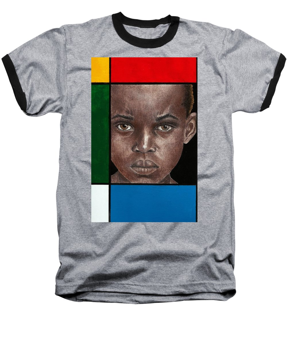 African American Artwork Baseball T-Shirt featuring the mixed media Intense by Edith Peterson-Watson