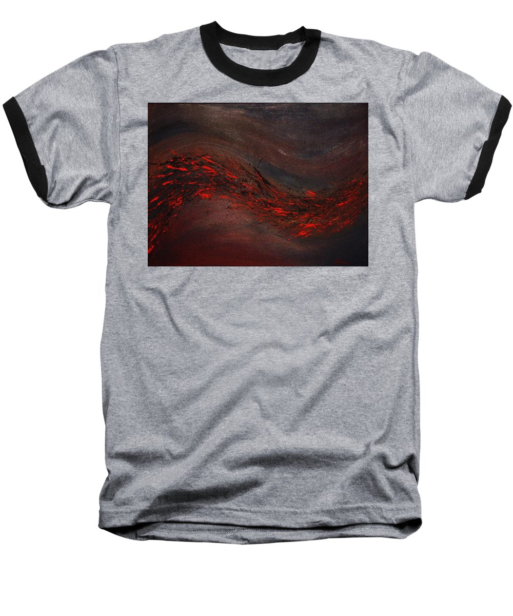 Acrylic Baseball T-Shirt featuring the painting Into The Night by Todd Hoover