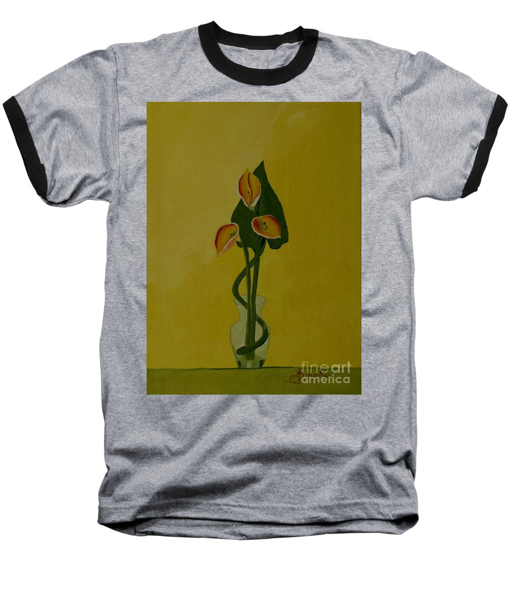 Japan Baseball T-Shirt featuring the painting Japanese Ikebana Arrangement by Anthony Dunphy