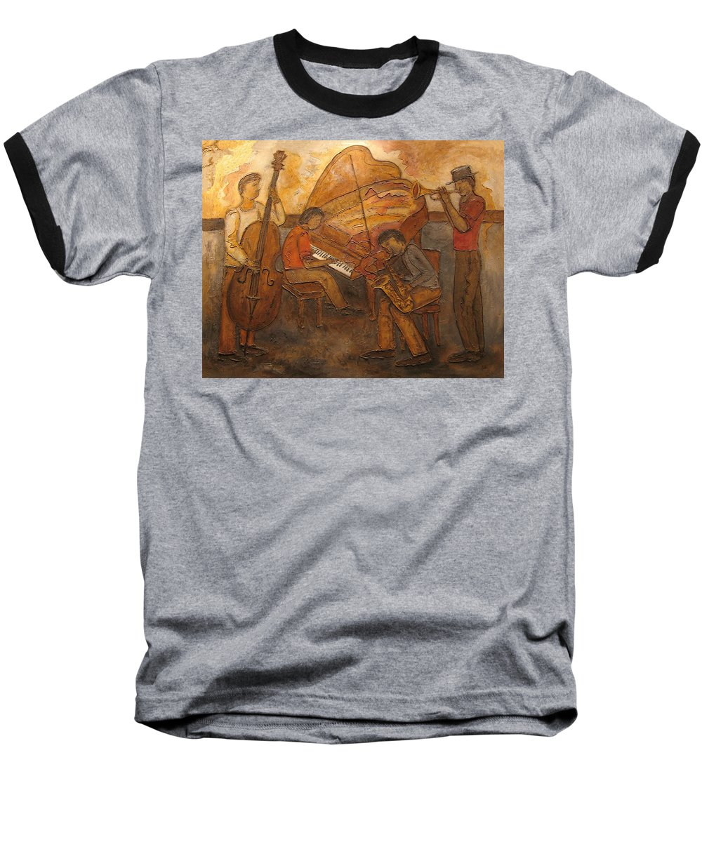 Impressionist Baseball T-Shirt featuring the painting Jazz Quartet by Anita Burgermeister