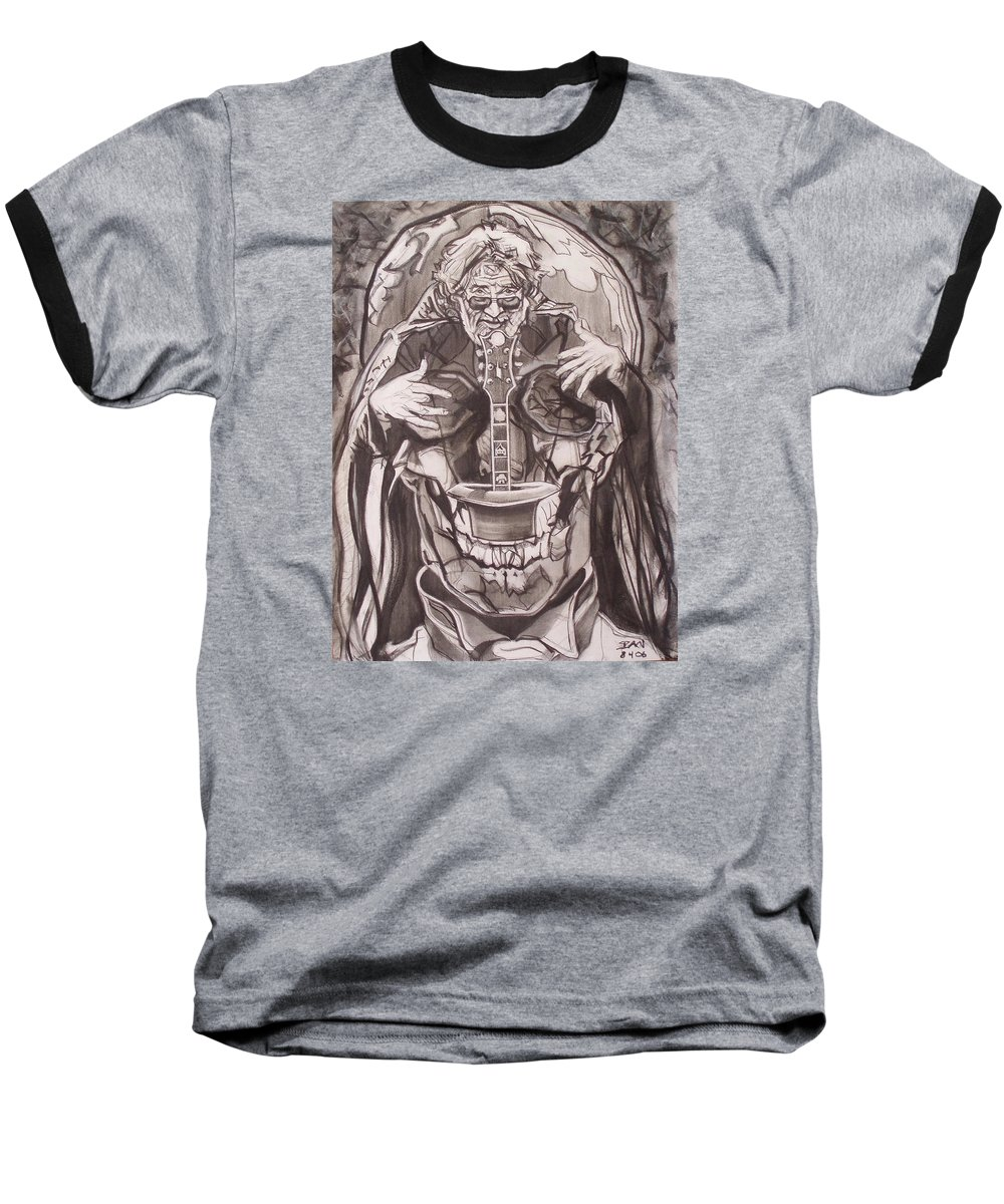 Charcoal; Skull;guitar;music;magic;mystic;wizard;cape;hat;shades;grateful Dead;deadheads Baseball T-Shirt featuring the drawing Jerry Garcia . . Magic Is What We Do - Music Is How We Do It by Sean Connolly