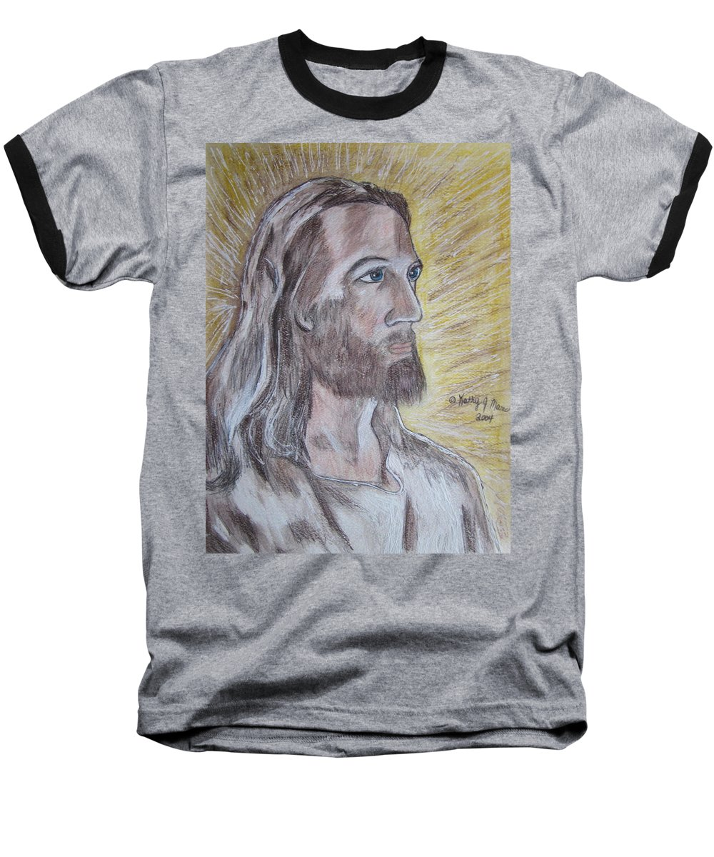Jesus Baseball T-Shirt featuring the painting Jesus by Kathy Marrs Chandler
