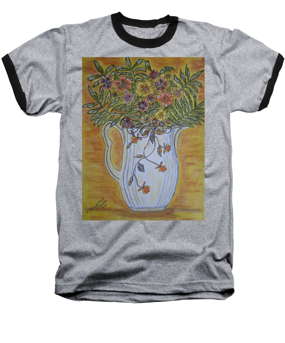 Jewel Tea Baseball T-Shirt featuring the painting Jewel Tea Pitcher With Marigolds by Kathy Marrs Chandler