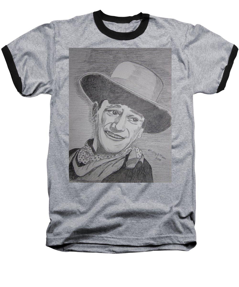 John Wayne Baseball T-Shirt featuring the painting John Wayne by Kathy Marrs Chandler