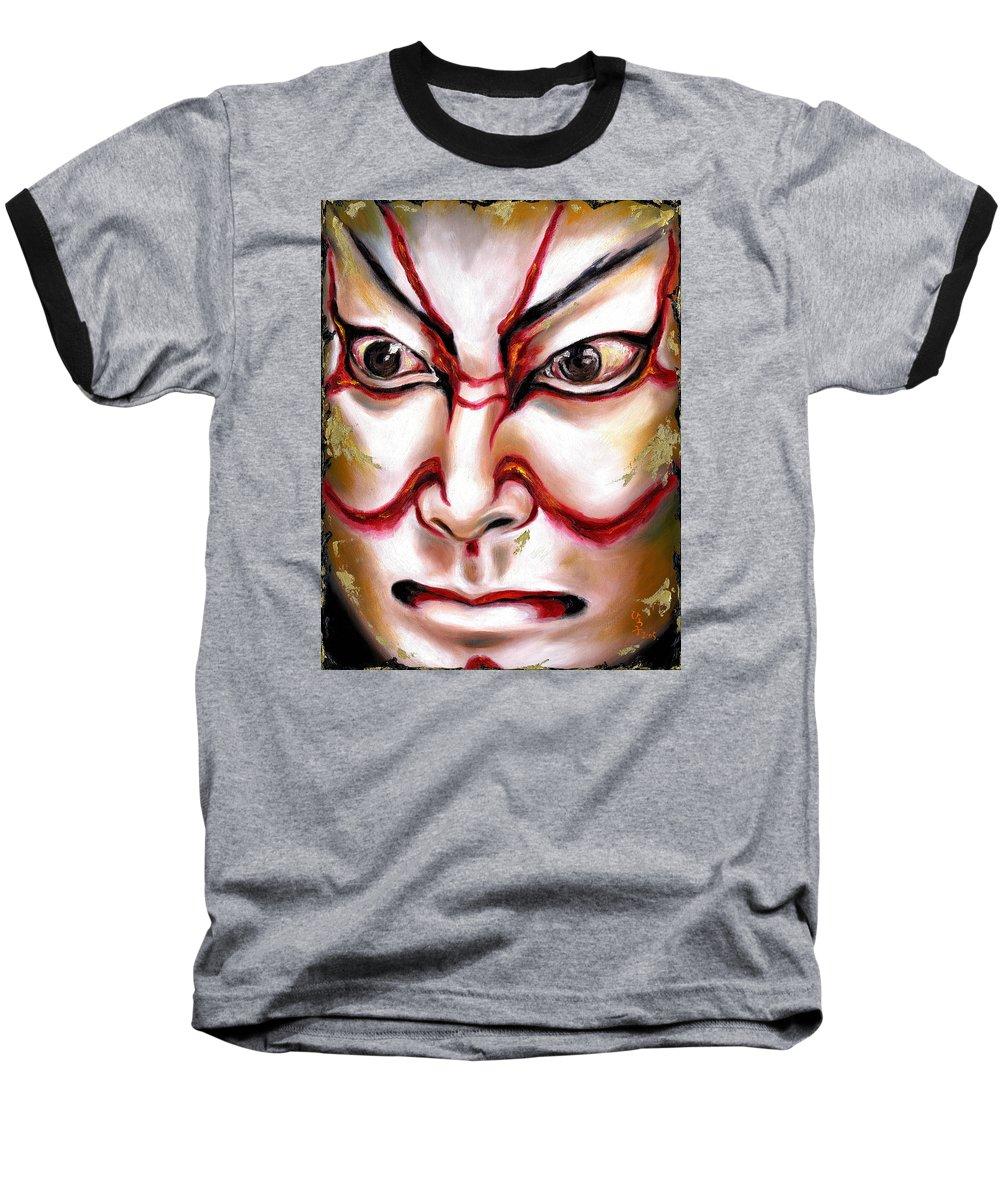 Kabuki Baseball T-Shirt featuring the painting Kabuki One by Hiroko Sakai