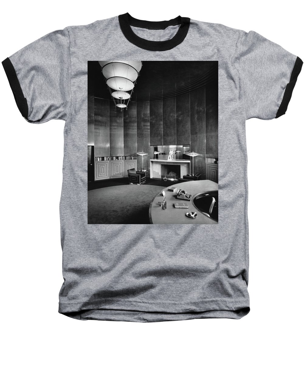 Interior Baseball T-Shirt featuring the photograph Katharine Brush's Study by F. S. Lincoln