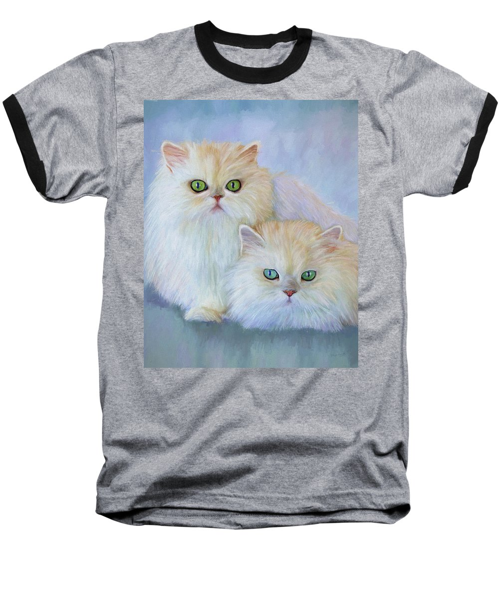 Cat Baseball T-Shirt featuring the painting Katrina And Bjorn by David Wagner