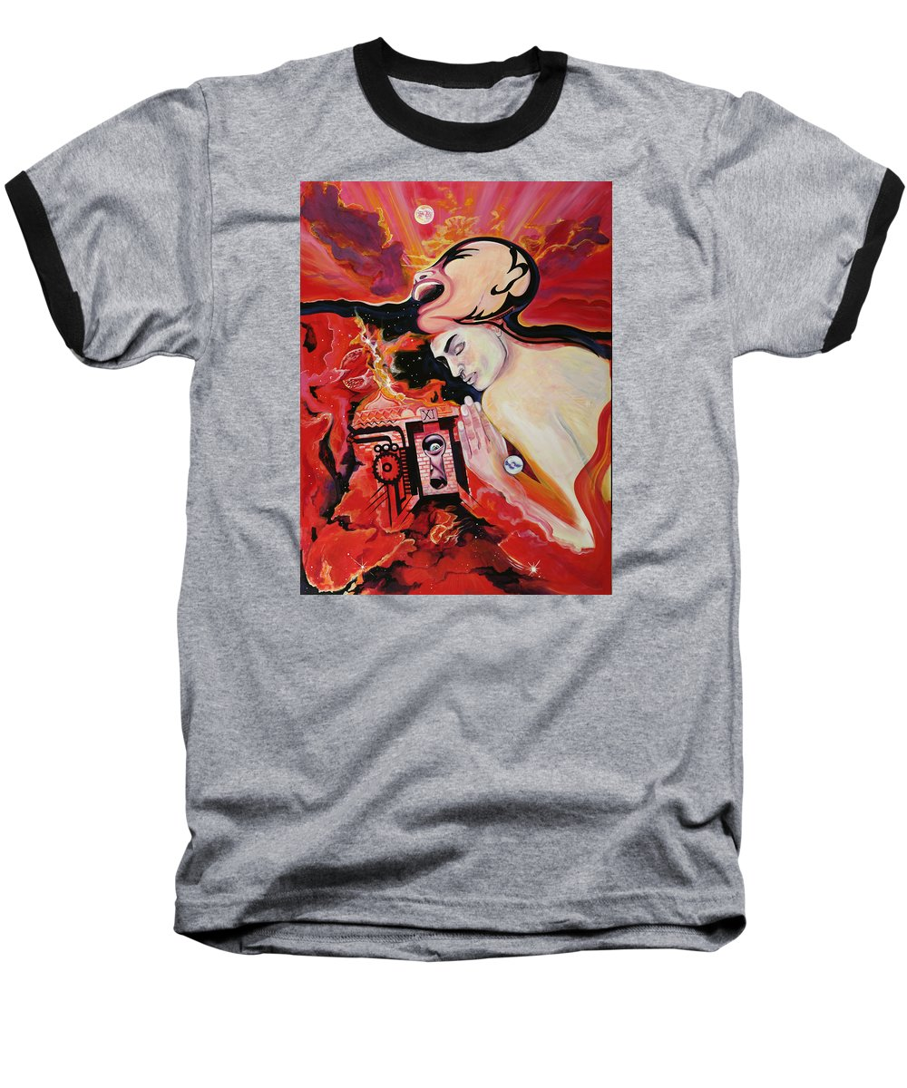 Passion Baseball T-Shirt featuring the painting Keyhole by Yelena Tylkina