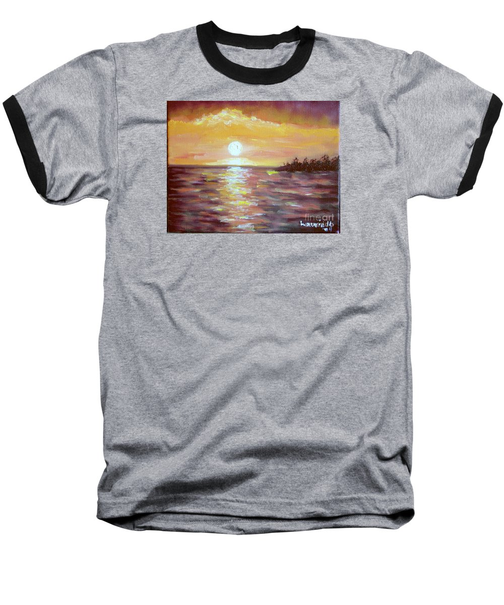 Sunset Baseball T-Shirt featuring the painting Kona Sunset by Laurie Morgan