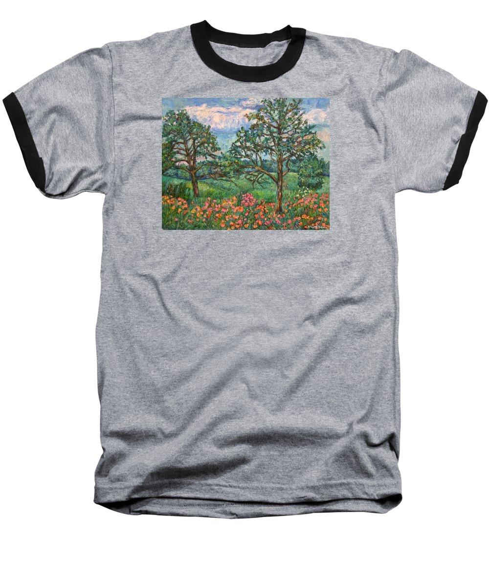 Landscape Baseball T-Shirt featuring the painting Kraft Avenue In Blacksburg by Kendall Kessler