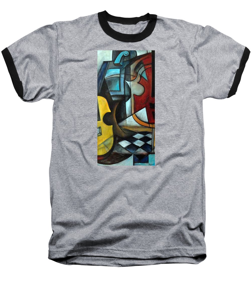 Abstract Baseball T-Shirt featuring the painting La Musique 1 by Valerie Vescovi