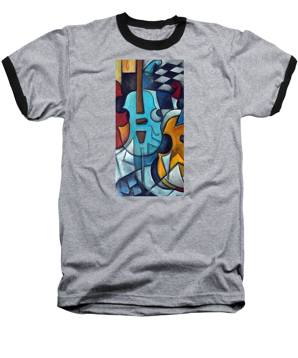 Music Baseball T-Shirt featuring the painting La Musique 2 by Valerie Vescovi