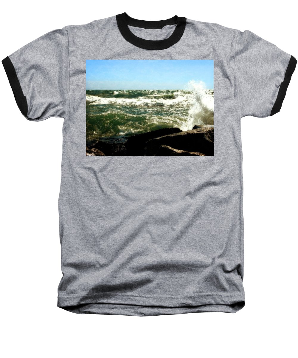 Lakes Baseball T-Shirt featuring the photograph Lake Michigan in an Angry Mood by Michelle Calkins