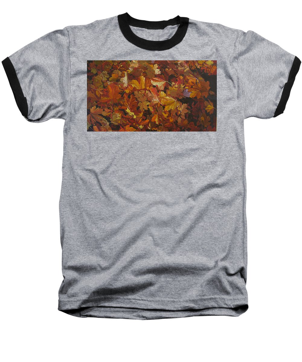 Fall Baseball T-Shirt featuring the painting Last Fall In Monroe by Thu Nguyen