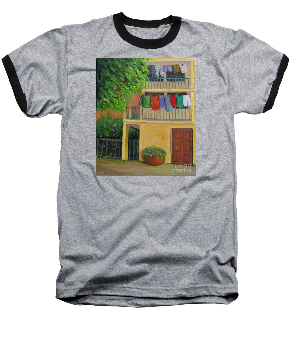 Laundry Baseball T-Shirt featuring the painting Laundry Day by Laurie Morgan