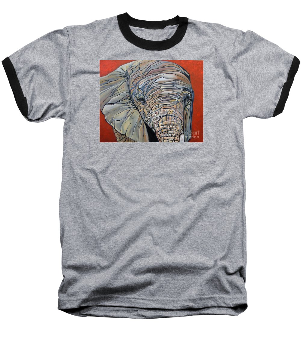 Elephant Baseball T-Shirt featuring the painting Lazy Boy by Aimee Vance