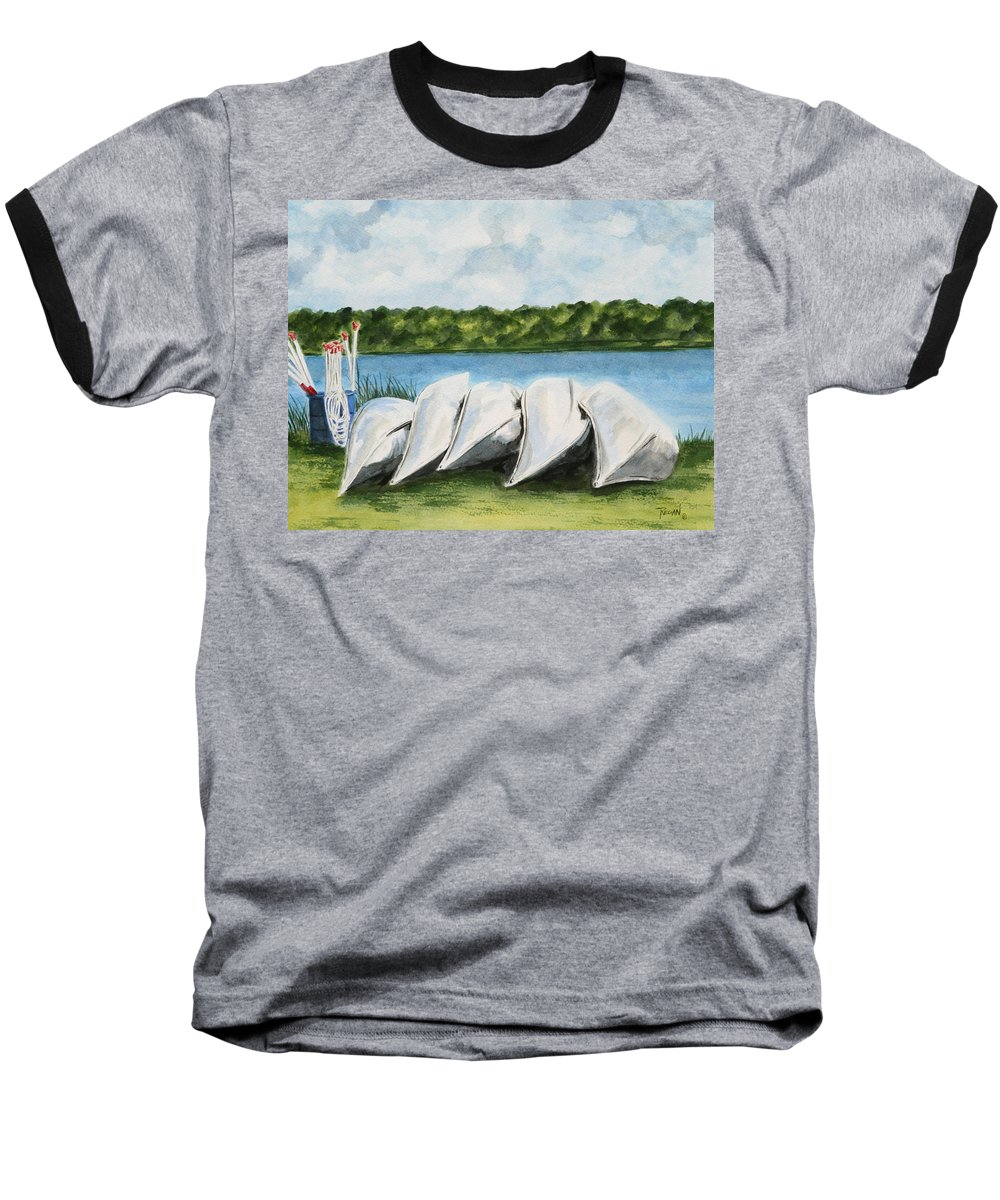 Canoes Baseball T-Shirt featuring the painting Lazy River by Regan J Smith