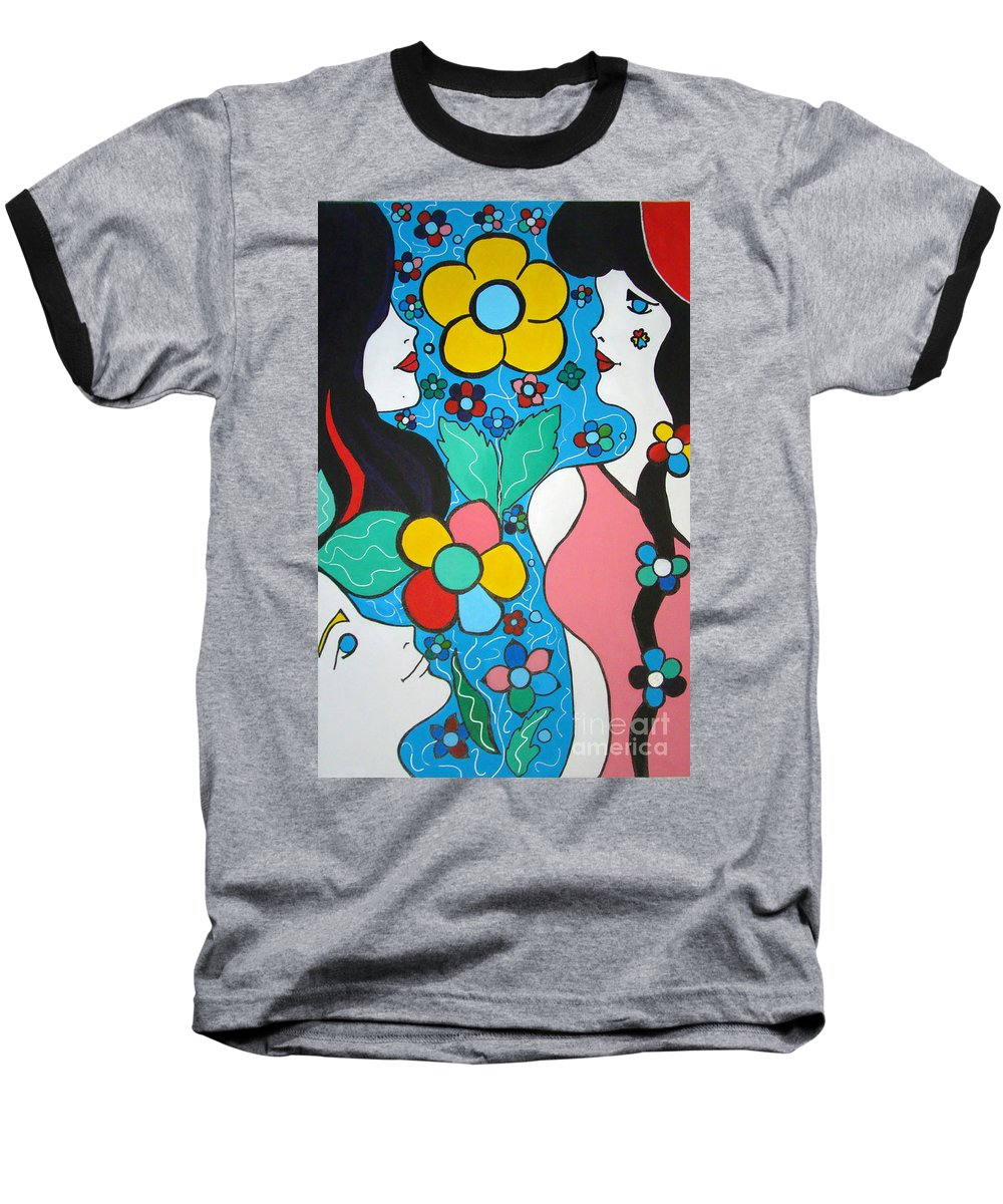 Pop-art Baseball T-Shirt featuring the painting Life Is Beautiful by Silvana Abel