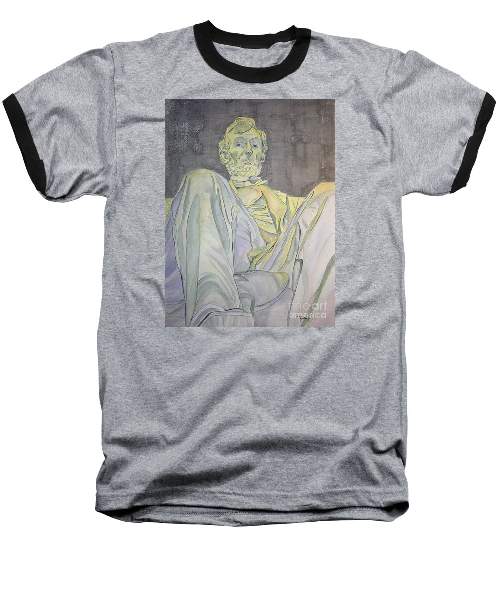 Presidents Baseball T-Shirt featuring the painting Lincoln by Regan J Smith