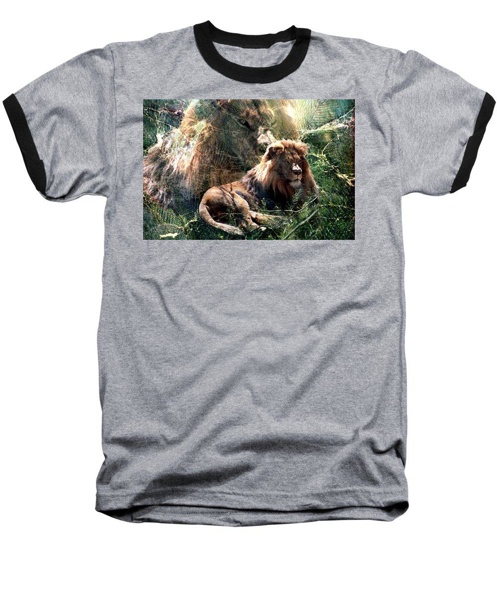 Lion Baseball T-Shirt featuring the digital art Lion Spirit by Lisa Yount
