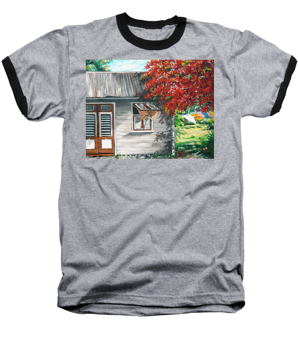 Caribbean Painting Typical Country House In The Caribbean Or West Indian Islands With Flamboyant Tree Tropical Painting Baseball T-Shirt featuring the painting Little West Indian House 1 by Karin Dawn Kelshall- Best