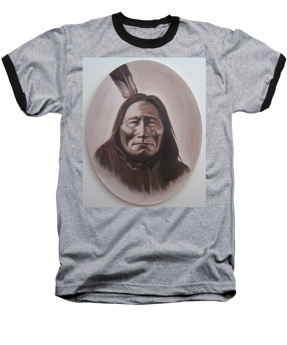 Michael Baseball T-Shirt featuring the painting Long Bear by Michael TMAD Finney