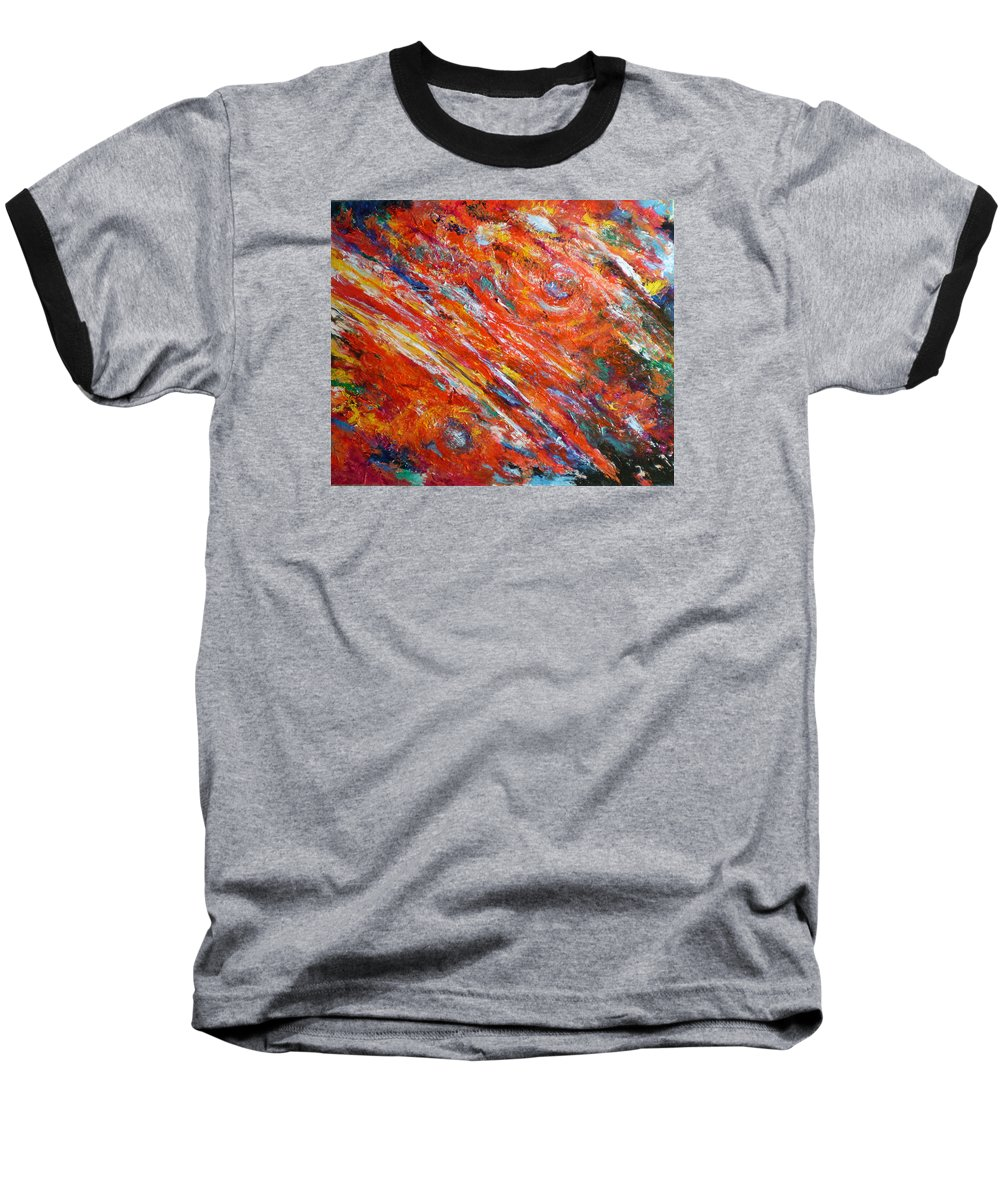 Abstract Baseball T-Shirt featuring the painting Loves Fire by Michael Durst