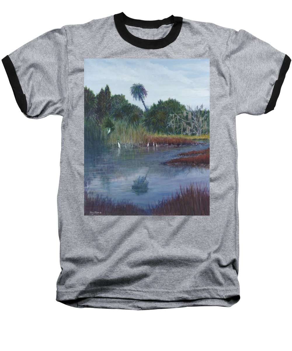 Landscape Baseball T-Shirt featuring the painting Low Country Social by Ben Kiger