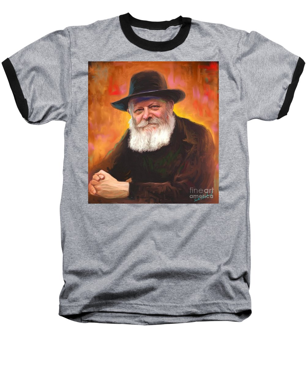 Lubavitcher Rebbe Baseball T-Shirt featuring the painting Lubavitcher Rebbe by Sam Shacked