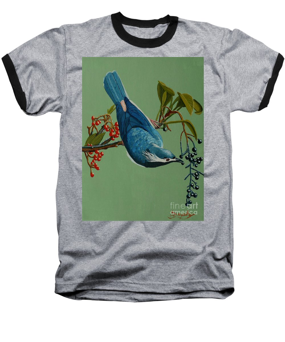 Bird Baseball T-Shirt featuring the painting Lunch Time For Blue Bird by Anthony Dunphy