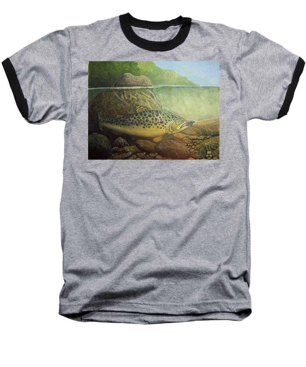 Rick Huotari Baseball T-Shirt featuring the painting Lurking by Rick Huotari