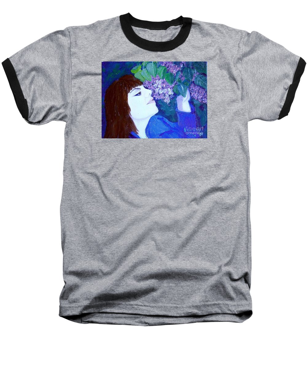Lilacs Baseball T-Shirt featuring the painting Lush Lilacs by Laurie Morgan