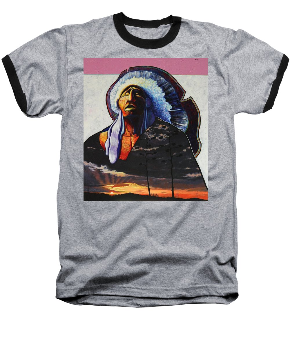 Native American Baseball T-Shirt featuring the painting Make Me Worthy by Joe Triano